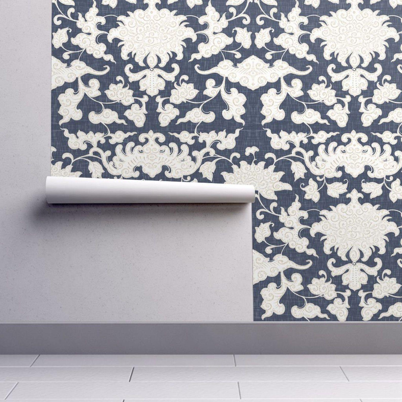 Garden Wallpaper Persia Navy Linen By Willowlanetextiles Etsy Peel And Stick Wallpaper Wallpaper Roll Spoonflower Wallpaper