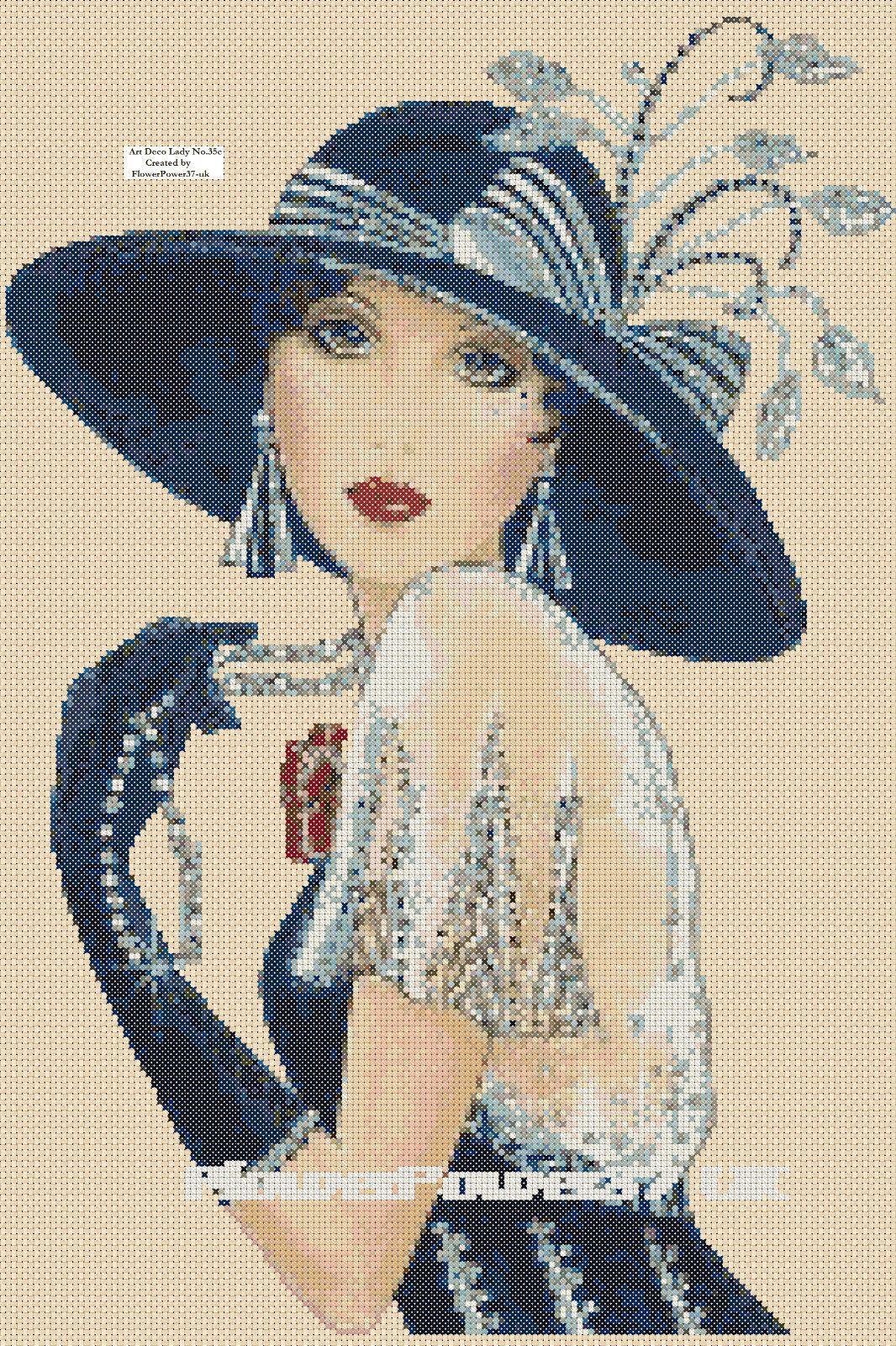 Cross Stitch Chart Art Deco Lady Flapper No35