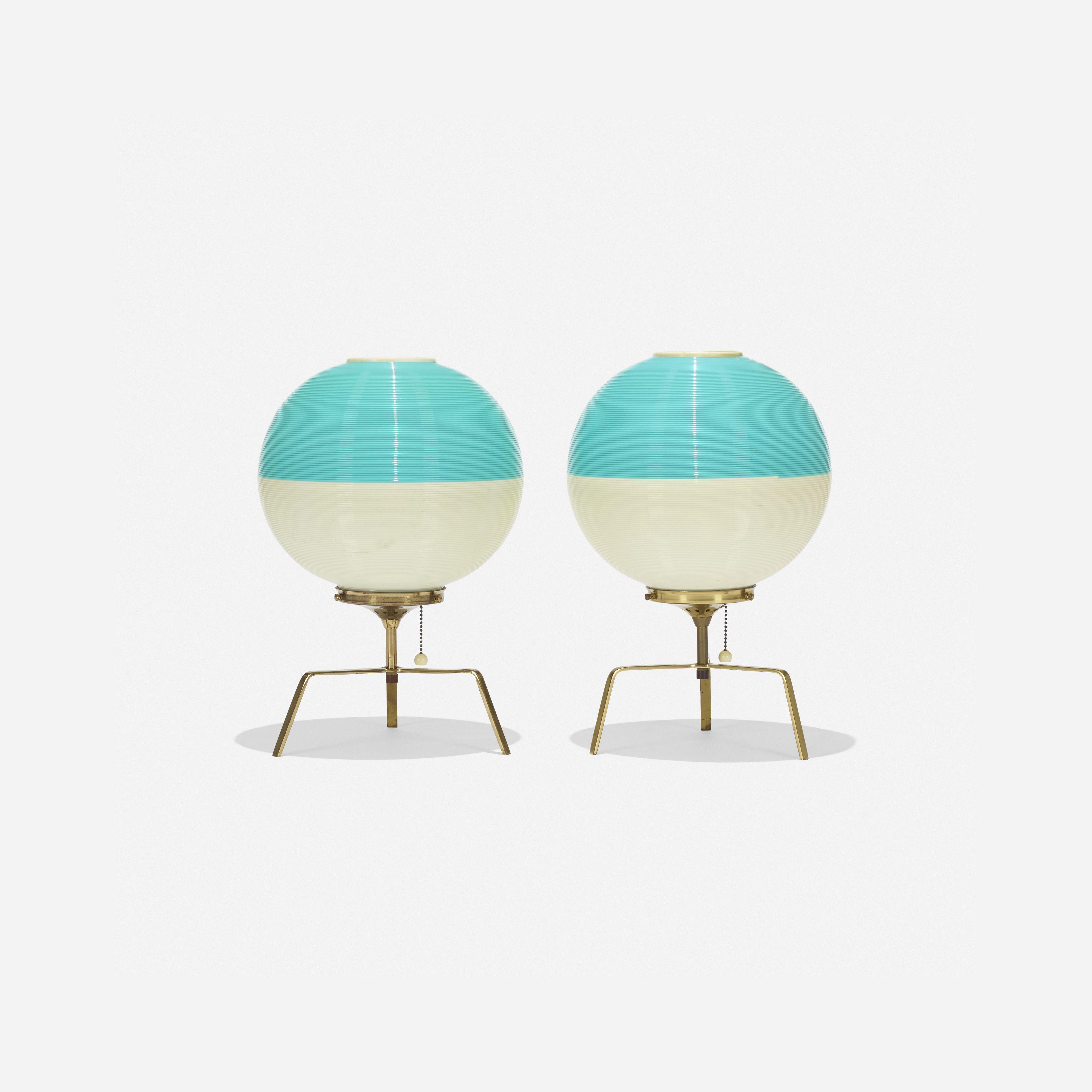 Lot 140: Yasha Heifetz. Rotaflex table lamps, pair. c. 1955, brass, molded…