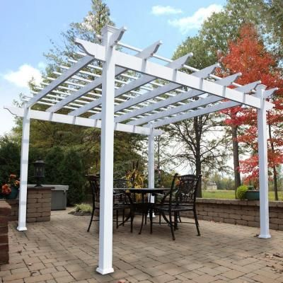 Weatherables Miramar 12 Ft X 12 Ft White Single Beam Vinyl Pergola Ywpg Hsb5 12x12 The Home Depot Vinyl Pergola Pergola Covered Pergola