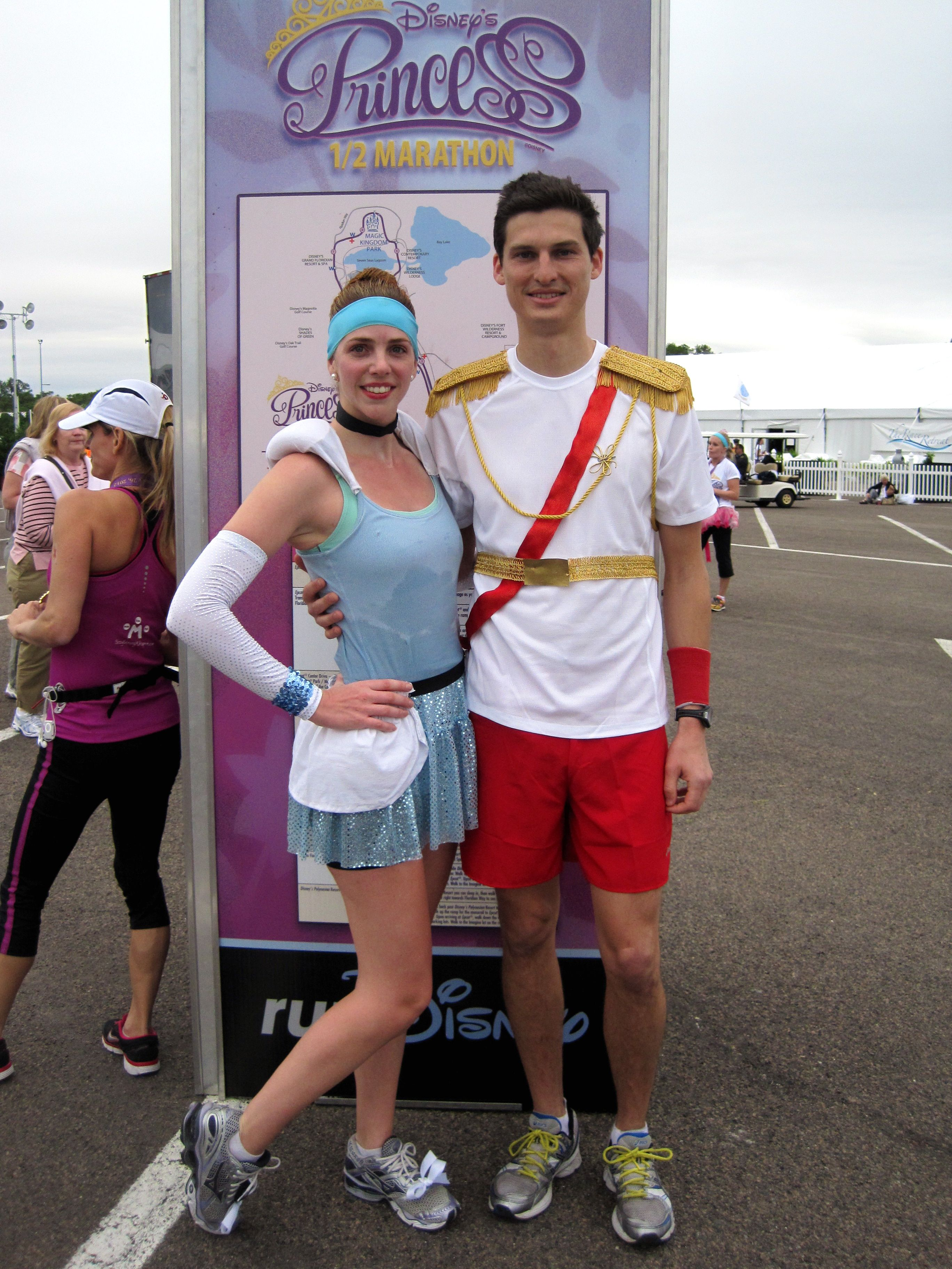 Easy Cinderella and Prince Charming Running Costumes. Think I could talk Boomer into doing this with me???  sc 1 st  Pinterest & Easy Cinderella u0026 Prince Charming Disney Running Costumes ...