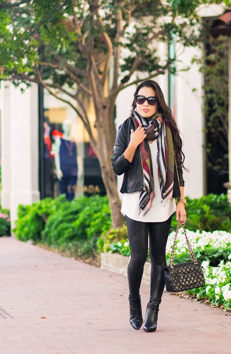 73f1ea07b0fb8 cute & little | petite fashion blog | black leather moto jacket, blanket  scarf, leather leggings, rockport total motion booties | fall winter outfit