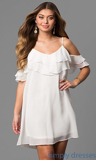 Shop cold-shoulder short party dresses at Simply Dresses. Cheap semi-formal  chiffon shift dresses under  50 with ruffles and adjustable straps. 6a3994241641