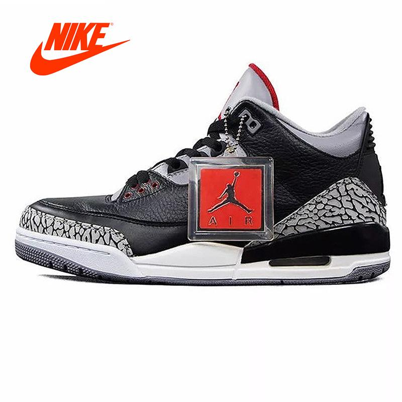 5fe66a710b2 Original New Arrival Authentic Nike Air Jordan 3 Black Cement AJ3 Men 's  Basketball Shoes Sneakers Sport Outdoor