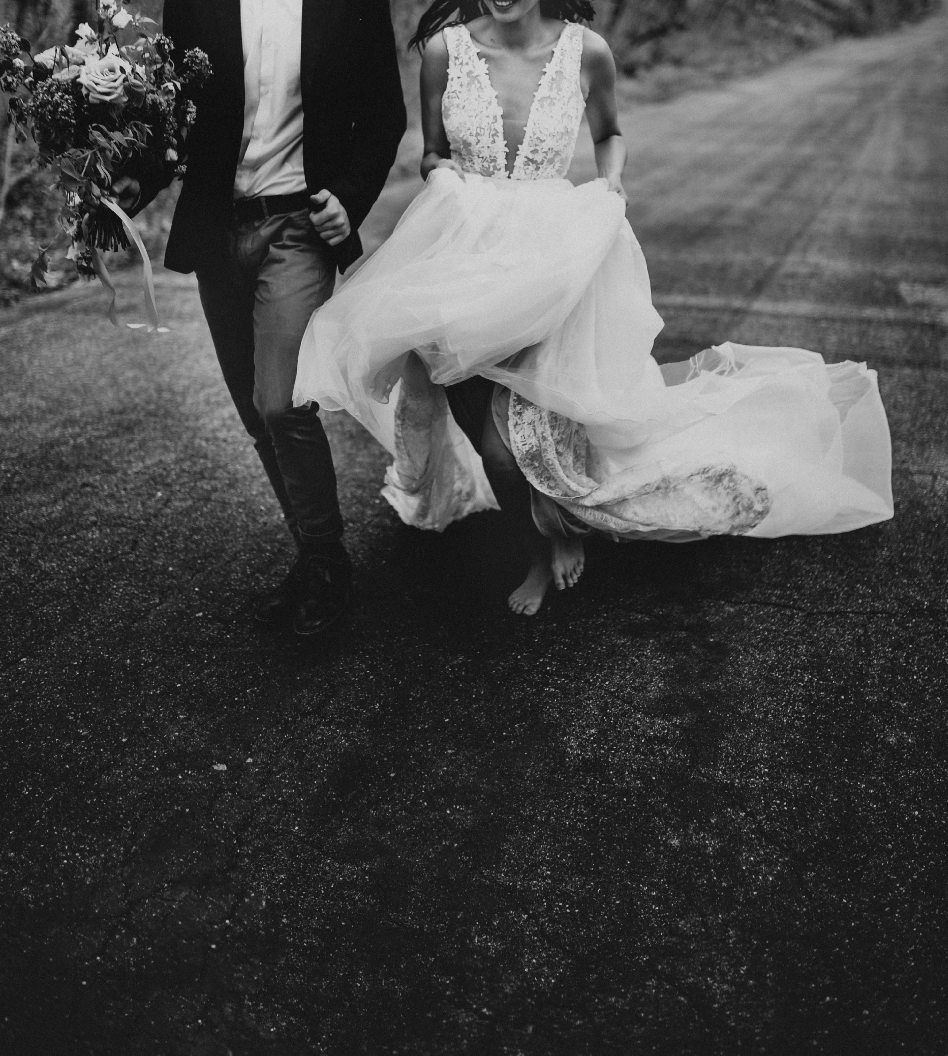 Flowy and lace wedding dress barefoot bride indie bride boho