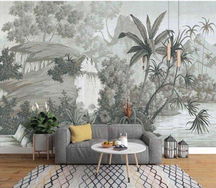 Vintage Style Forest Landscape Nature Wallpaper Self Adhesive Etsy Yatak Odasi Duvar Kagidi Mural 3d Duvar Kagidi