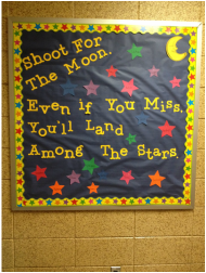 an inspirational bulletin board to motivate students to set up