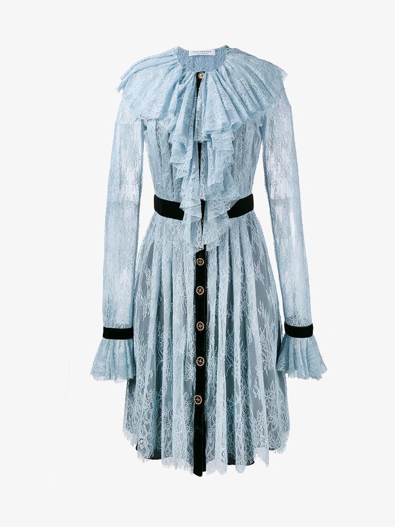 ruffle shirt dress - Blue Philosophy di Lorenzo Serafini 4waNDLts