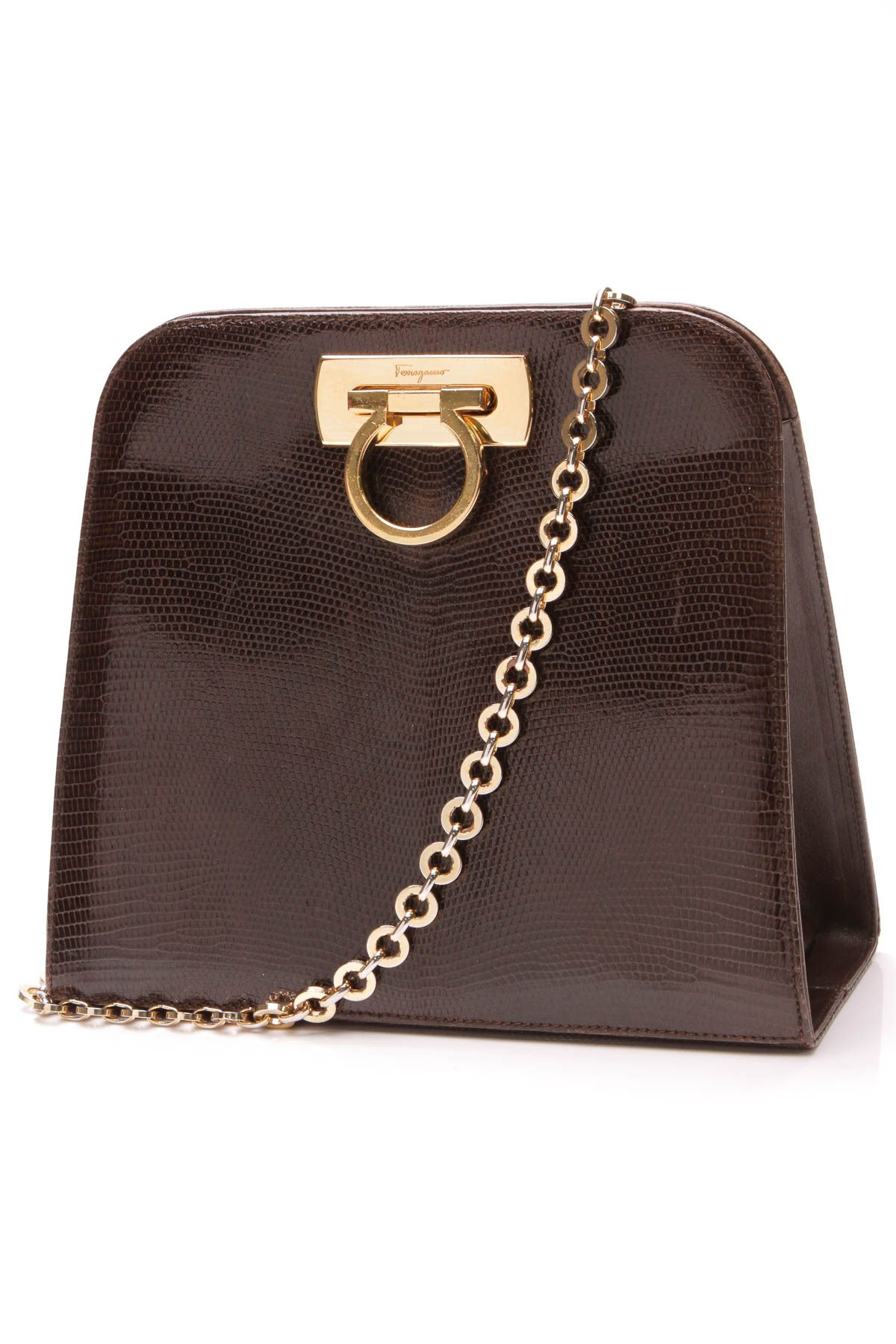 ede2954b641c Salvatore Ferragamo Vintage Gancini Bag - Brown Lizard