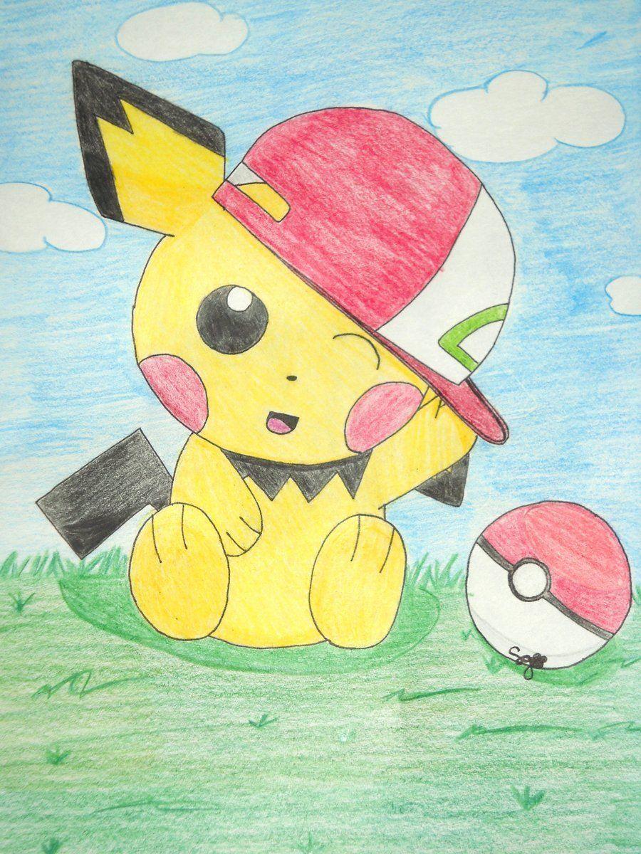 pOKEMON dRAWINGS pokemon Photo pichu with ashes hat