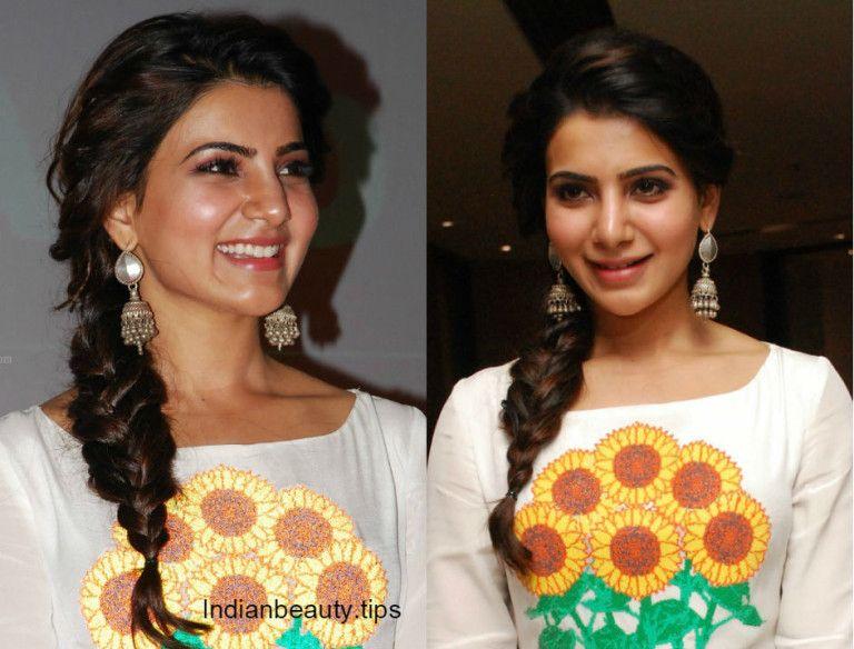 Samantha Side Braid Hairstyles Indian Hairstyles Fishtail Braid Hairstyles