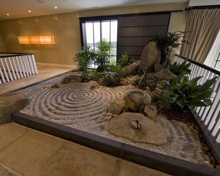 Terraza interior con jardin estilo zen plantas for Jardines japoneses zen
