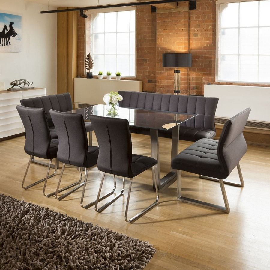 Modern 8 Seater Grey Glass Dining Table Set 3 X Benches And 3 X