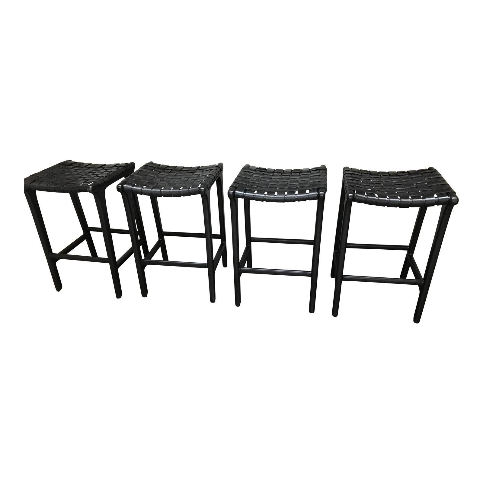 Black leather counter stools set of counter stool black
