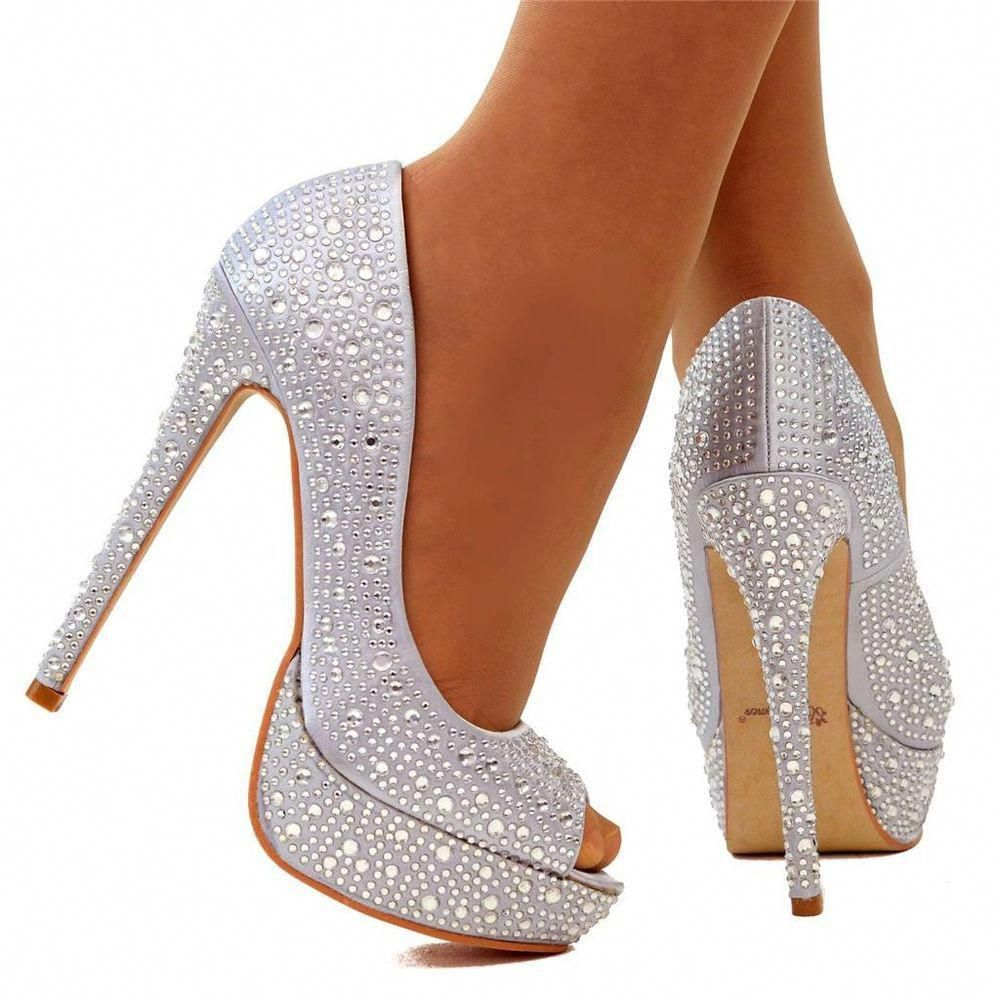 69b1ec2a9f  factory outlet Womens Size UK 5 Silver Sparkly Diamante  Platform Pumps High Heel Party Shoes Promheels ... 93b8dab95