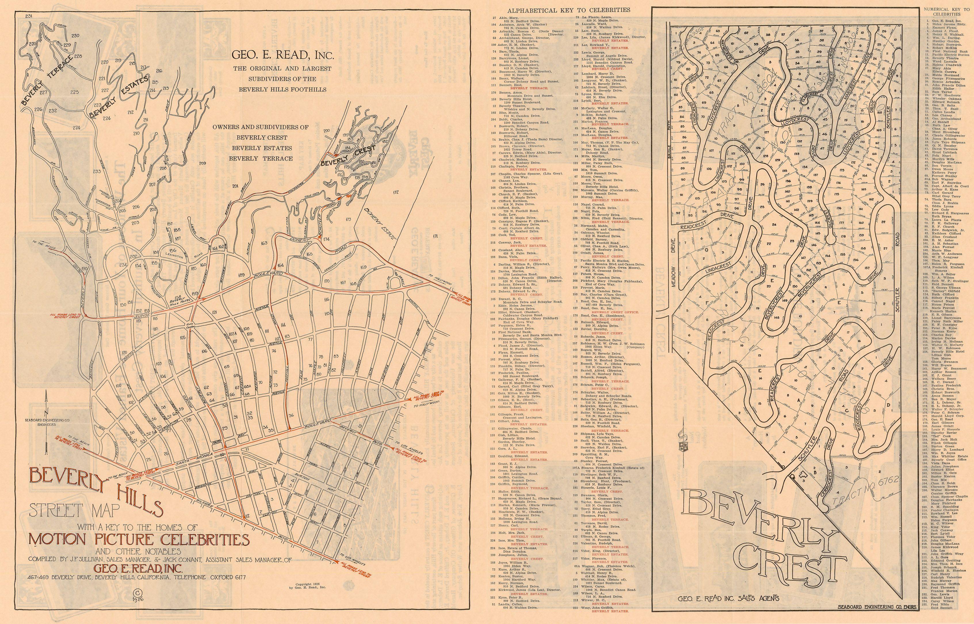 Beverly Hills Street Map 1926 House Map Street Map Map