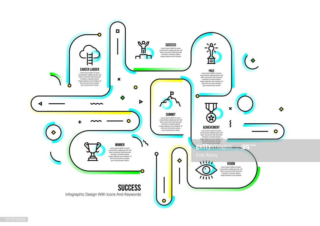 Infographic design template with success keywords and