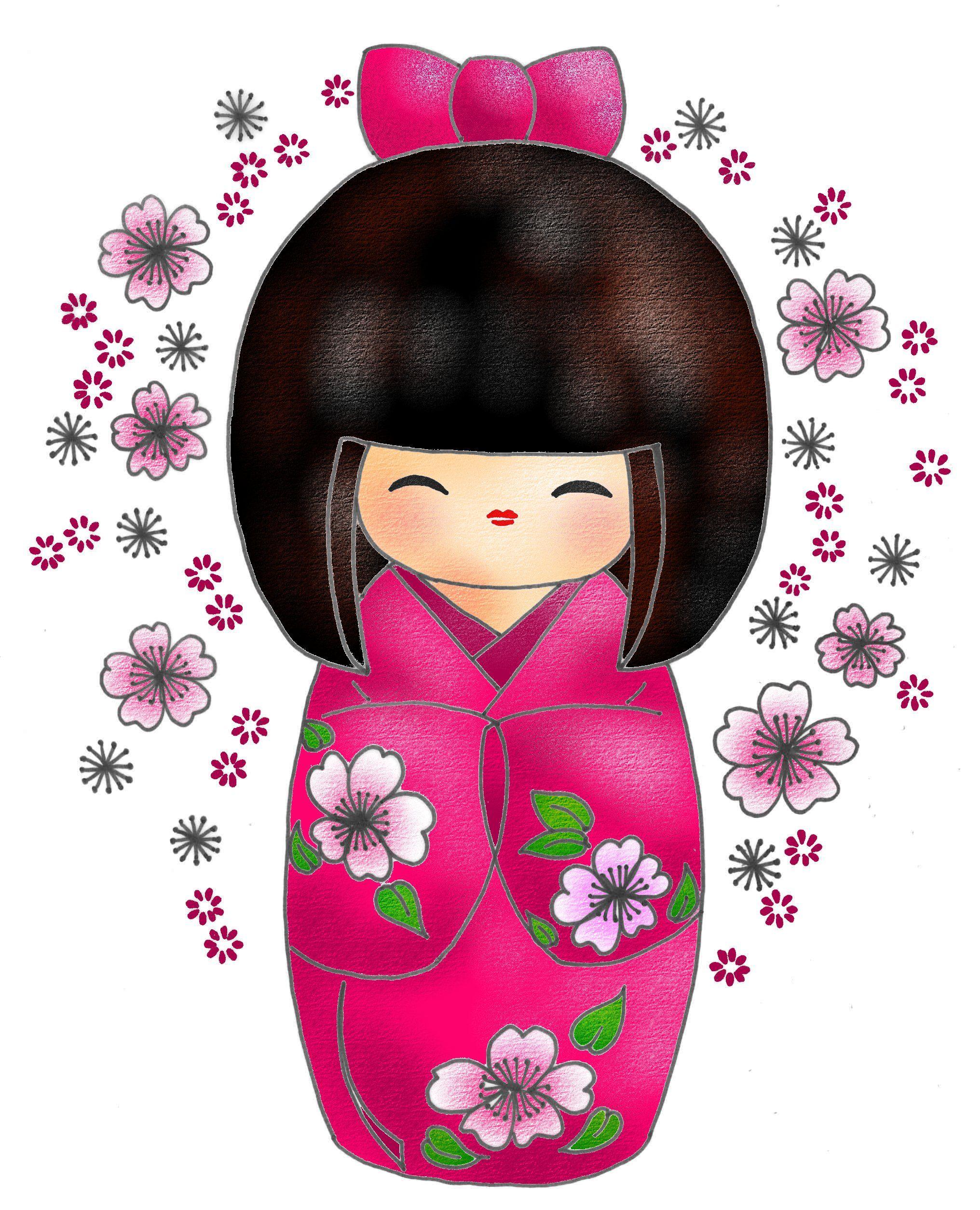 KOKESHI Mon avatar Kimiko Dessin au feutre scanné et colorisé