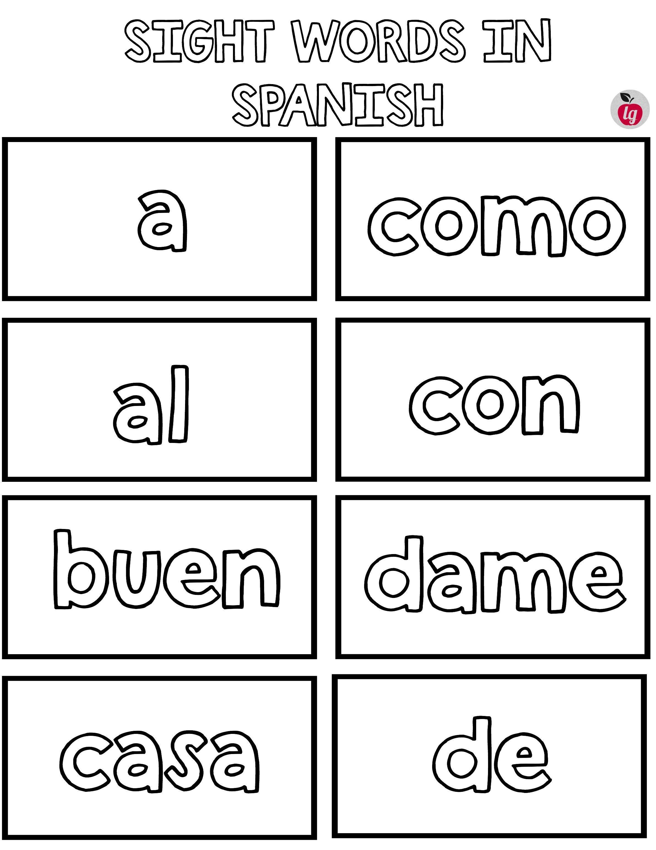 Practice Spanish Sight Words Free Printable Bingo