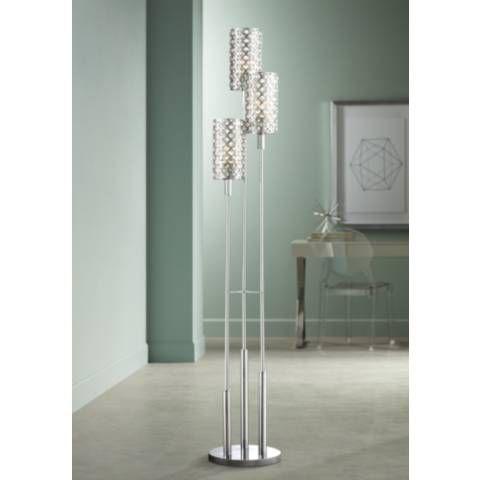 Possini Euro 3 Tier Glitz Crystal And Chrome Floor Lamp 2g671 Lamps Plus Chrome Floor Lamps Cool Floor Lamps Floor Lamp