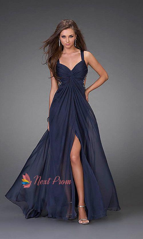 Navy Blue Prom Dresses, Long Chiffon Evening Dress, Long Prom ...