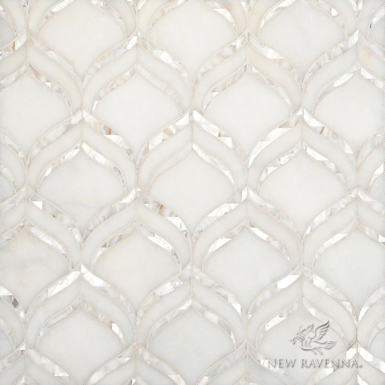 Adonis, a water jet mosaic shown in honed Afyon White and Shell, is part of the Aurora™ Collection by Sara Baldwin for New Ravenna.