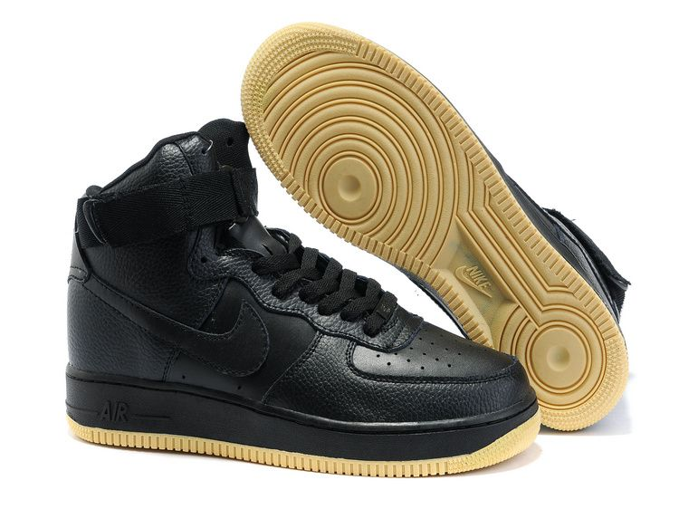 Black · Cheap Mens Black Brown Nike Air Force 1 25th High Shoes 29635