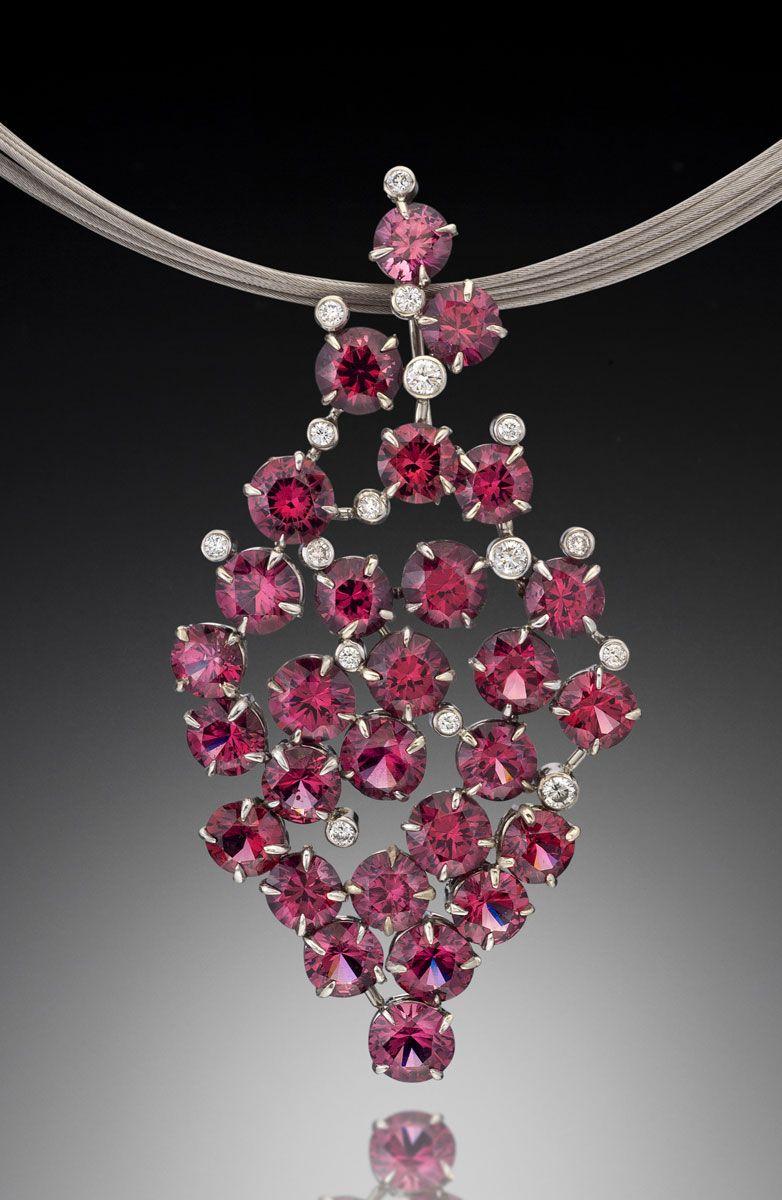 Glam rhodolite garnet pendant garnet pendant white gold and bald