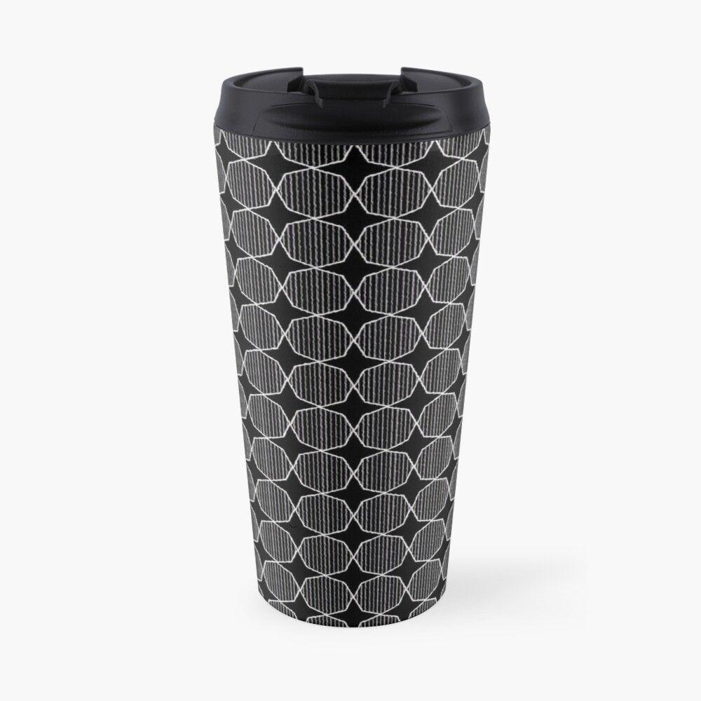 Optical geometric starred seamless pattern Travel Mug by Blacklinesw9