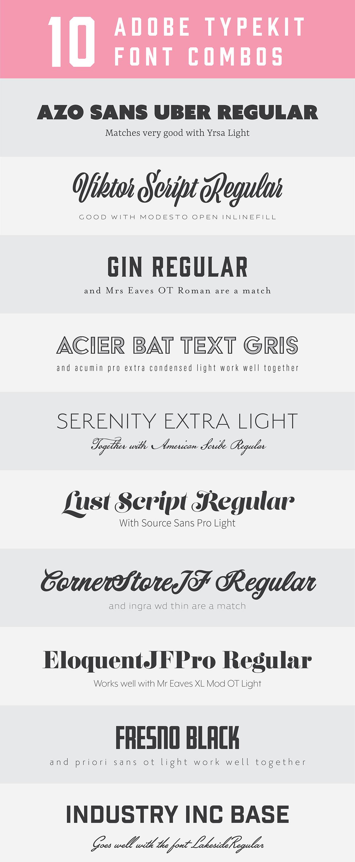 10 Adobe typekit font combos … | web design  | Font …