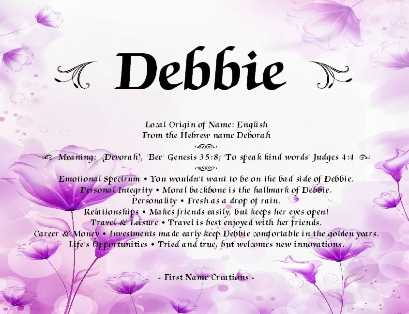 Debbie names with meaning meant to be card sayings