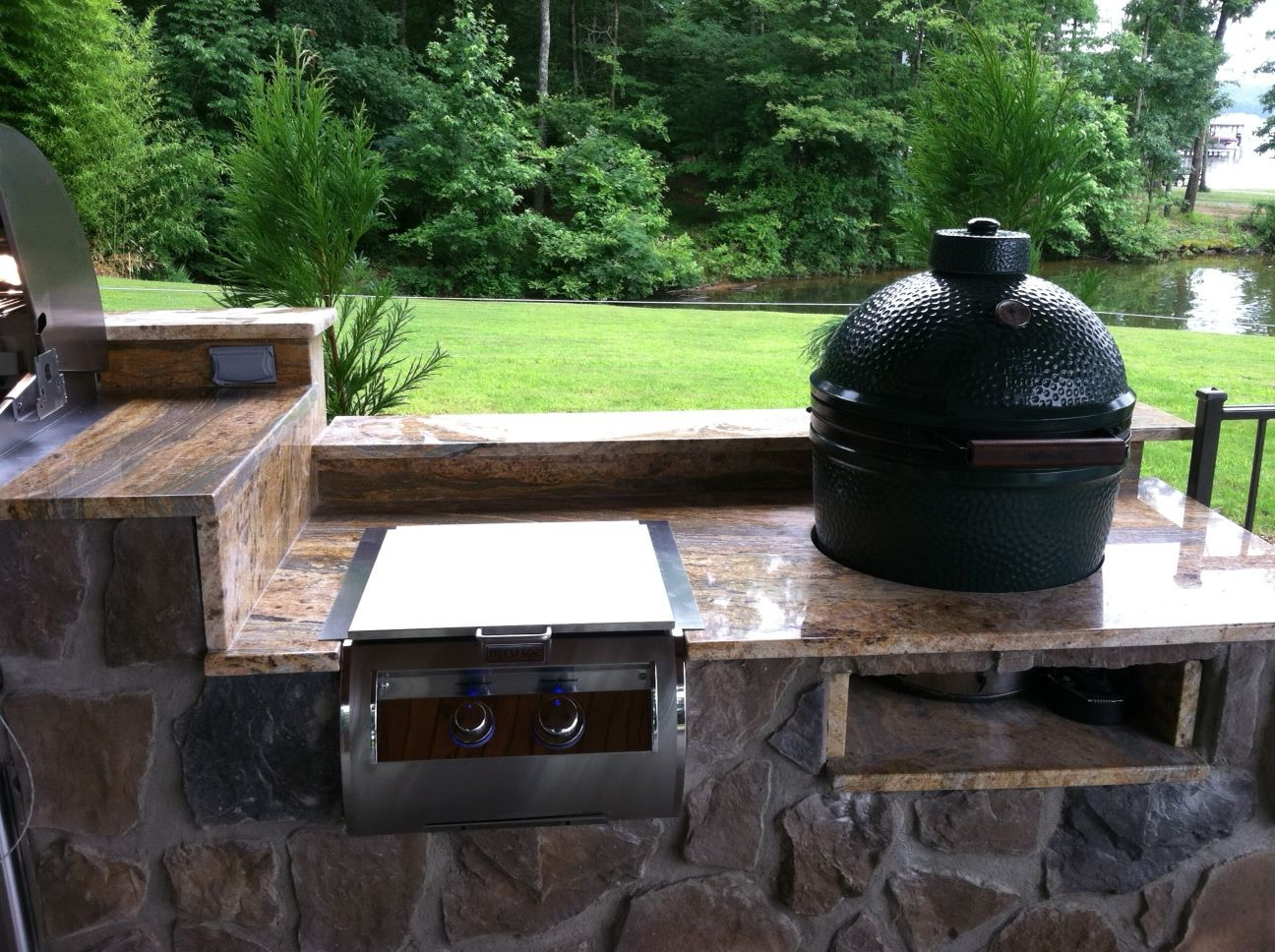 Outdoor Küche Fire Magic Fire Magic Built In Power Burner Beside A Big Green Egg Outdoor