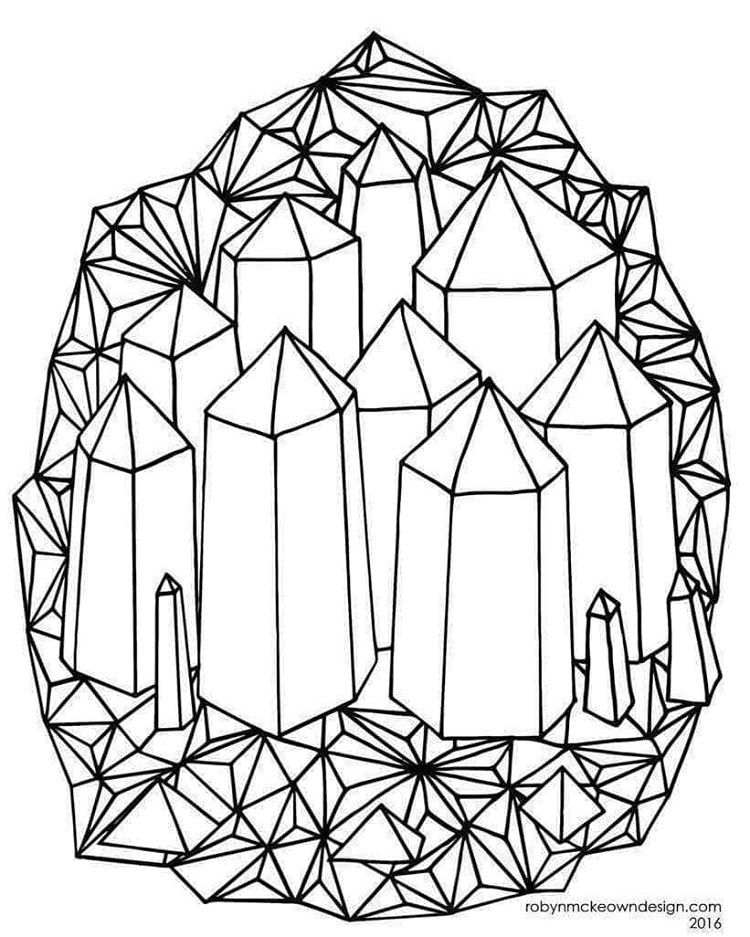 crystal coloring pages Crystal black and white illustration for coloring page  crystal coloring pages