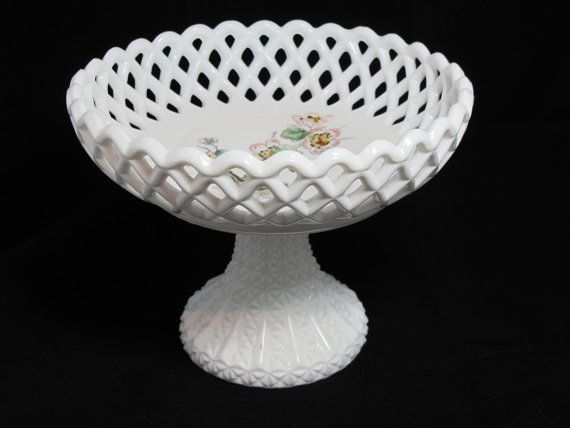 EAPG Antique Opaline Salt Pepper SHAKER Flower Forget Me Knots Bouquet Challinor Taylor Floral Glass