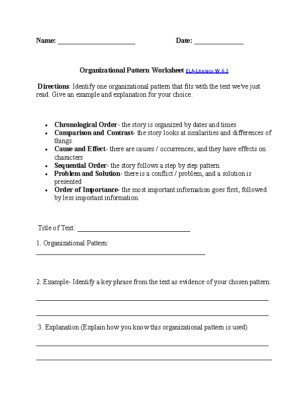 Organizational Patterns Worksheet Ela Literacy W 6 2 Writing