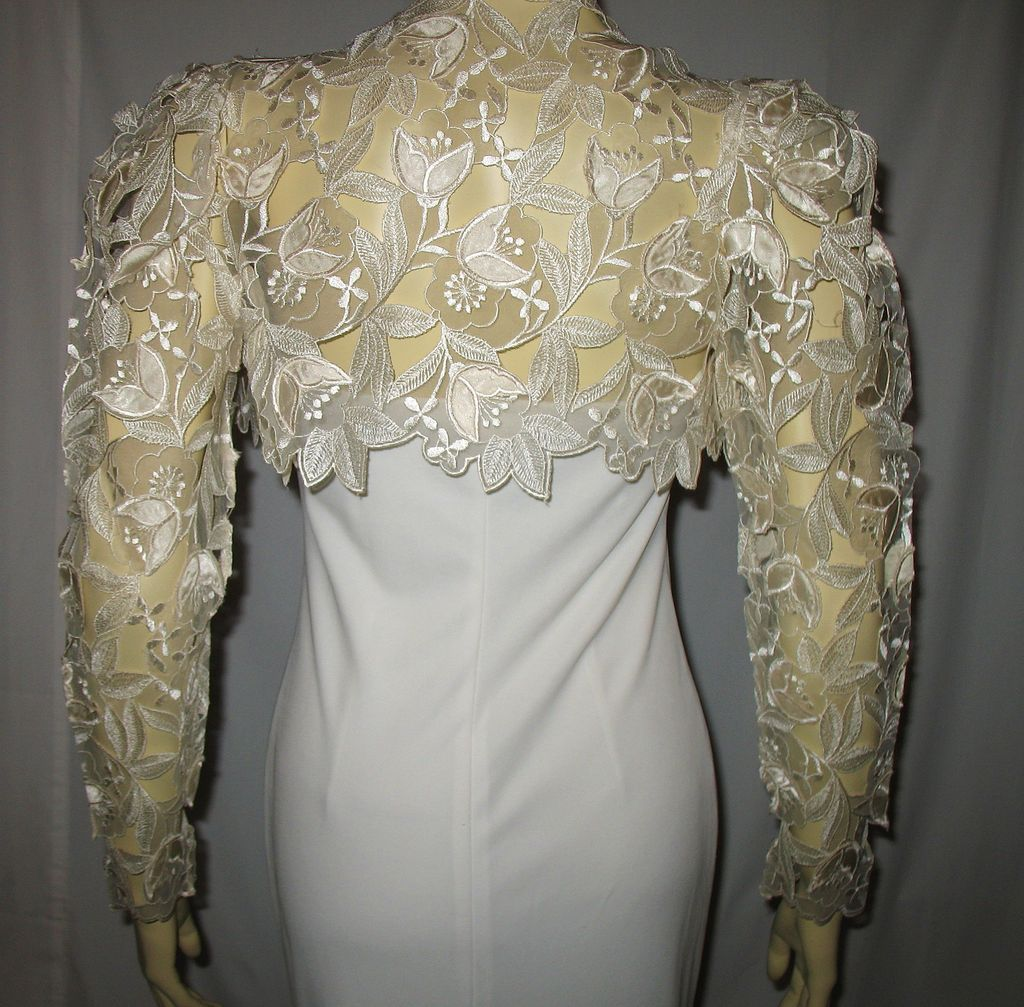 Small wedding dresses  Exquisite s Wedding Dress Ivory Bolero Jacket Size Small from