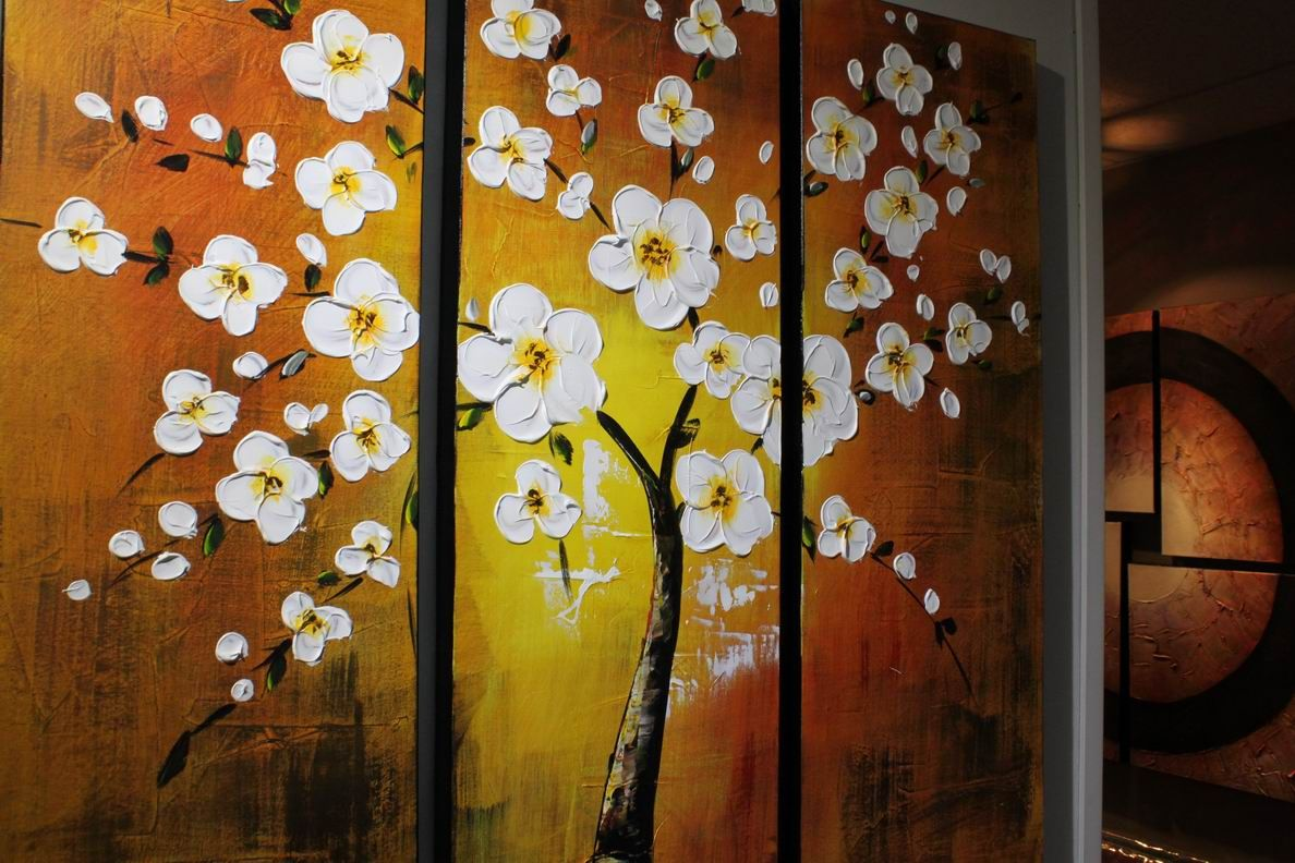 Yellow White Sakura Blossom Tree Triptych Panel Art Acrylic Painting ...