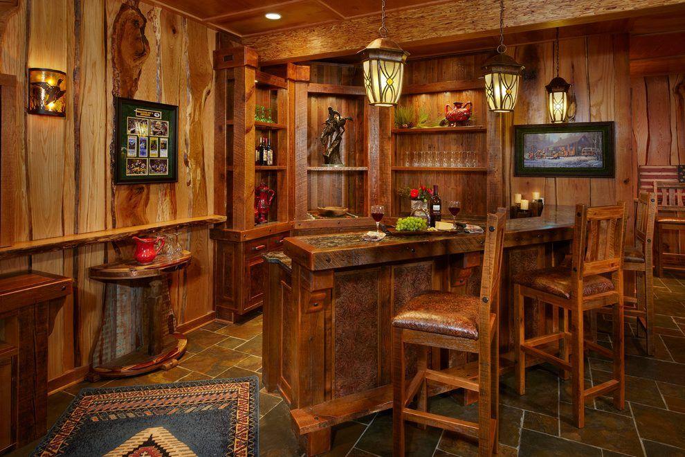 Rustic basement bar ideas home bar rustic with slate tile floor