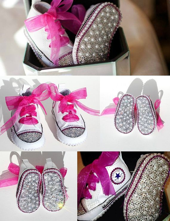Converse Crib Shoes with Swarovski Crystals and by WickedAddiction ... 9d5485373