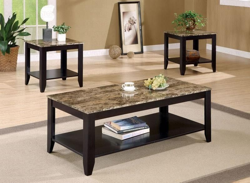 Coaster Furniture Transitional Walnut Occasional Table Set