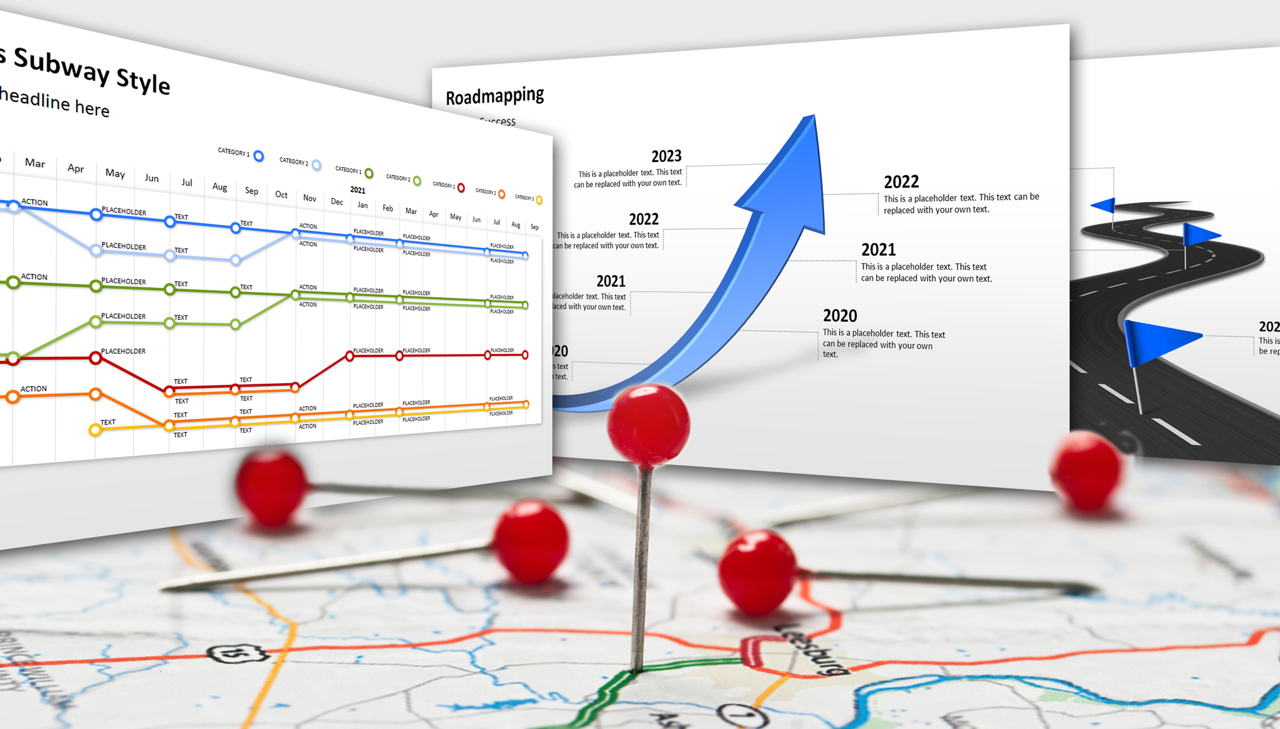 on the road to success with powerpoint roadmap templates office