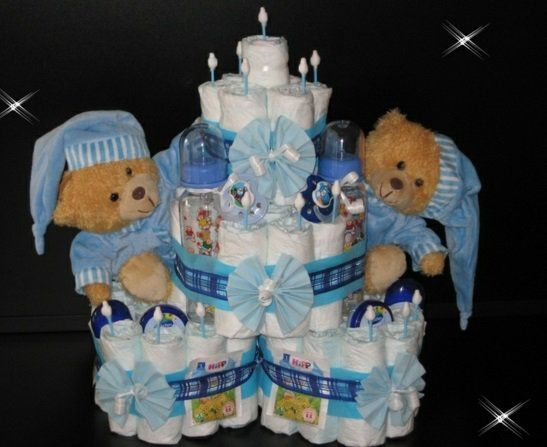 windeltorte basteln anleitung babygeschenke geburt b r newborn pinterest diapers babies. Black Bedroom Furniture Sets. Home Design Ideas