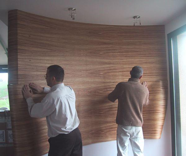 placage chambre bois panneau bois et papier peint. Black Bedroom Furniture Sets. Home Design Ideas