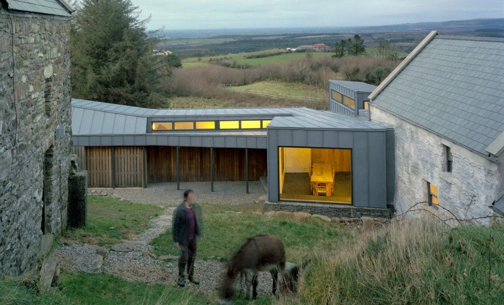 new nestled among the old in rural ireland sheet metal cladding