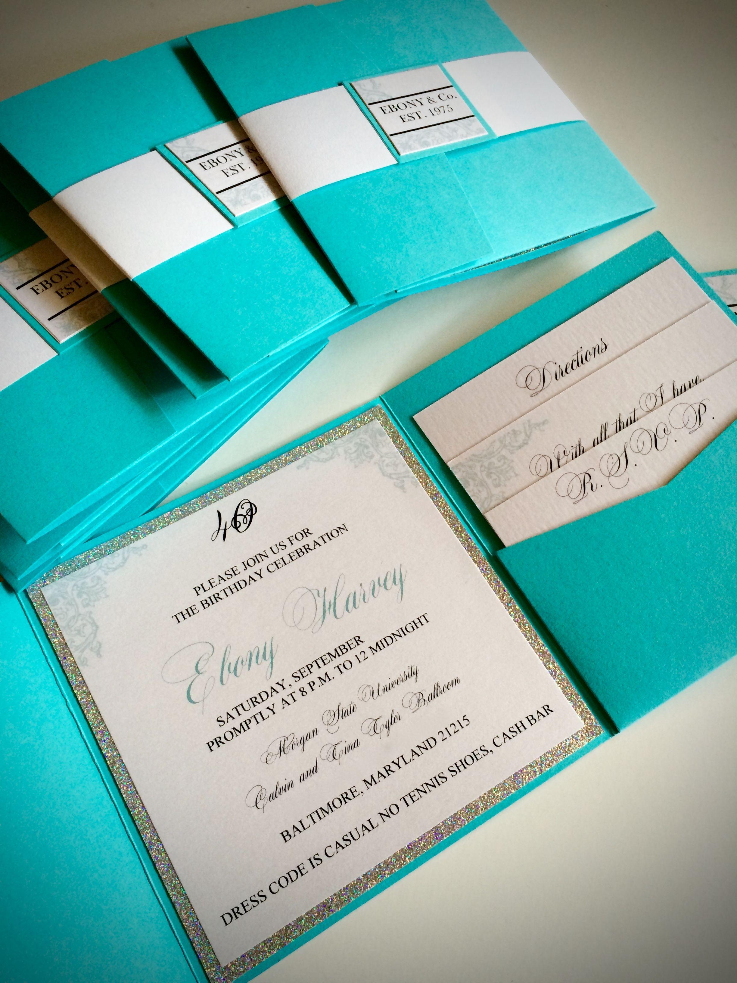 Tiffany Co Birthday invitations – Tiffany Blue Birthday Invitations