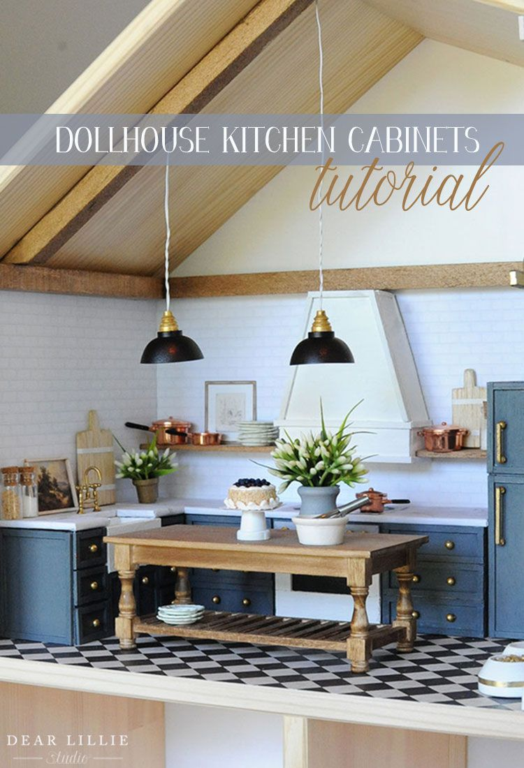 Diy Dollhouse Kitchen How We Made Our Cabinets For Our Ikea Dollhouse Dear Lillie Studio In 2020 Ikea Dollhouse Dollhouse Kitchen Dollhouse Kitchen Cabinets