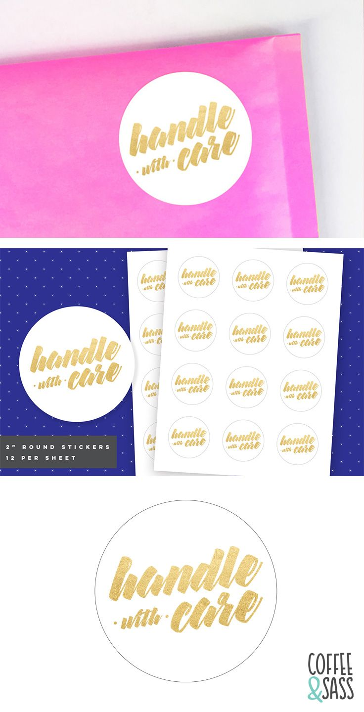 """2"""" Round Handle With Care Shipping Stickers Printable"""