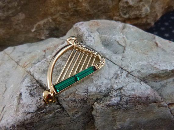 Gift for a Musician Irish Gifts Vintage Harp Brooch Gift for a Harpist Stag Antler Brooch Irish Harp Brooch Horn Brooch