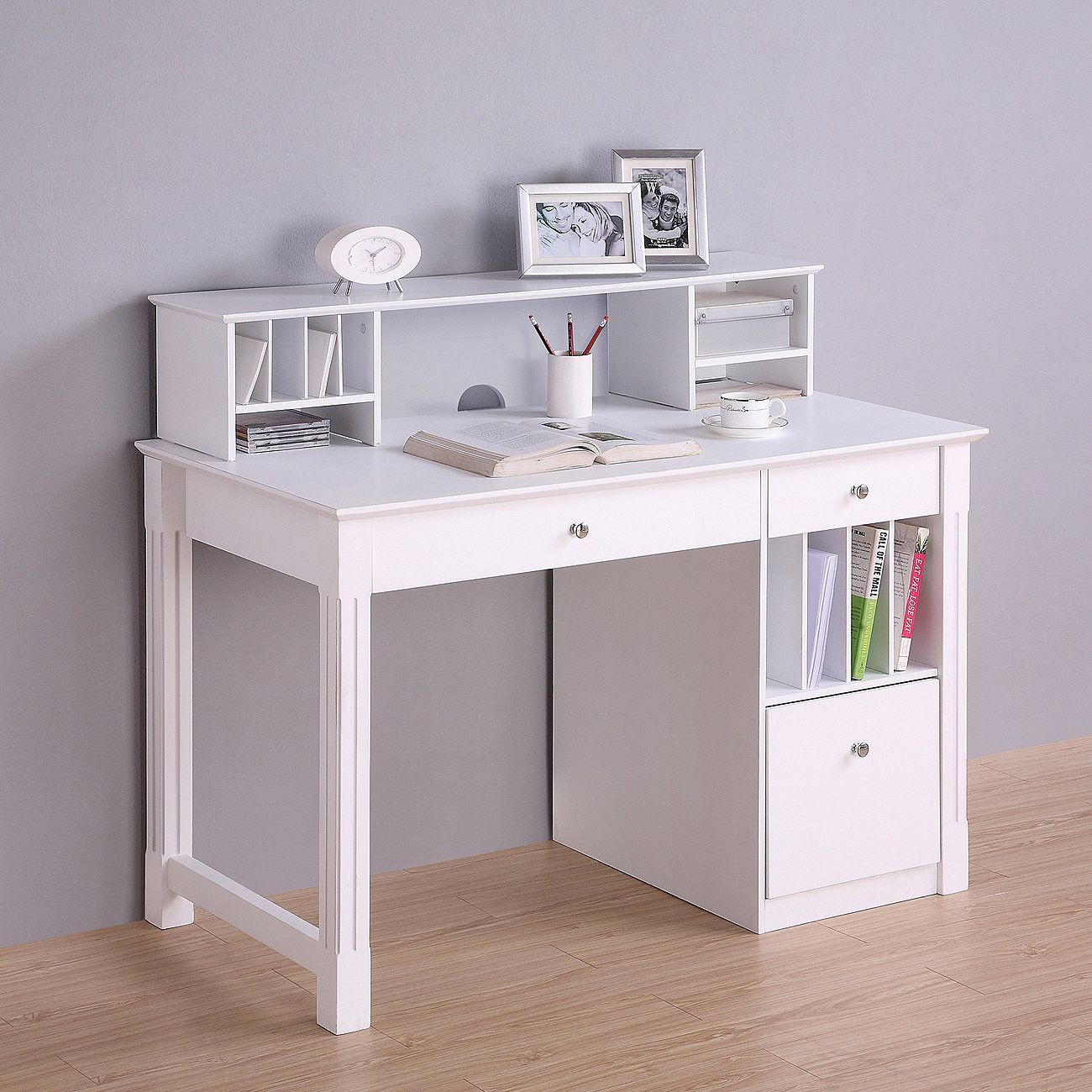 Walker Edison Deluxe Solid Wood Desk With Hutch Target