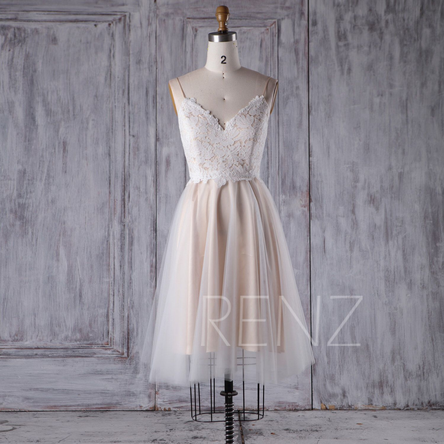 Off white lace tulle bridesmaid dress v neck wedding dress a line
